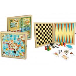 Coffret jeux de plateau classiques en bois - à partir de 4 ans