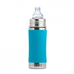 Biberon évolutif inox 325 ml bec de transition Turquoise
