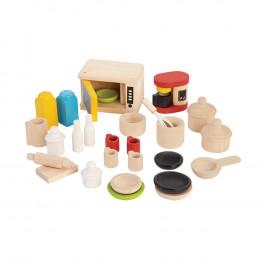 Accessoires pour cuisine en bois maison de poupée - à partir de 3 ans