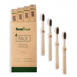 Lot de 4 brosses à dents en Bambou - dur