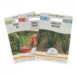 Trio de graines à planter BIO - Ciboulette, roquette, tomates cerises