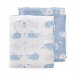 Set de 2 langes d'emmaillotage - Whale blue fog (70x60)