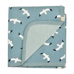 Couverture réversible coton BIO - Mouettes Bleu