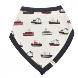 Bavoir bandana réversible - 0 à 12 mois - Bateaux Navy
