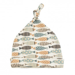 Bonnet en coton BIO - Poissons turquoises