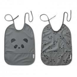 Set de 2 bavoirs imperméables Lai - Panda stone grey
