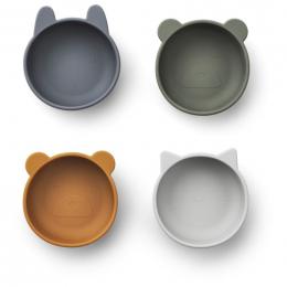 Set de 4 bols en silicone Iggy - Blue mix