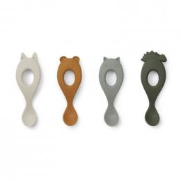 Set de 4 cuillères Liva en silicone - Hunter green mix