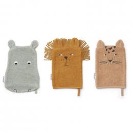Set de 3 gants de toilette Sylvester - Safari mix