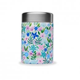Boîte repas lunch box isotherme inox - 650ml - Flora bleu