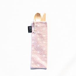Couverts en bois avec pochette en coton - Motif Casual