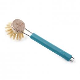 Brosse à vaisselle manche en silicone - Tête remplaçable - Turquoise
