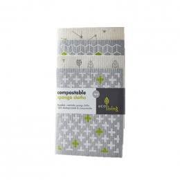 4 lavettes compostables en éponge - Geometric